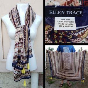 NEW women ELLEN TRACY polyester print scarf tassle